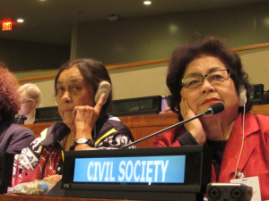 Atomic bomb survivors speaking at UN- Sue Coleman-Haseldine (Kokatha elder from South Australia) and Setsuko Thurlow (Hibukusha from Hiroshima)