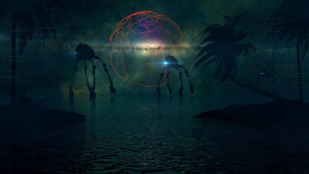 Four legged robot creatures walking through sea water near island