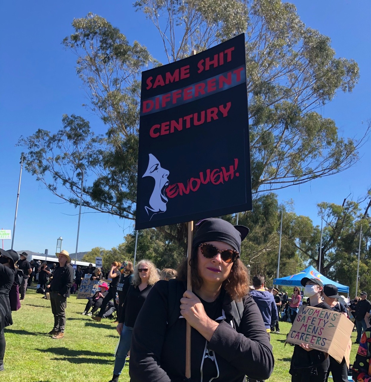 One of the placards at the March-4-Justice rally in Canberra March 15th 2021 Photo courtesy of Judith Peppard