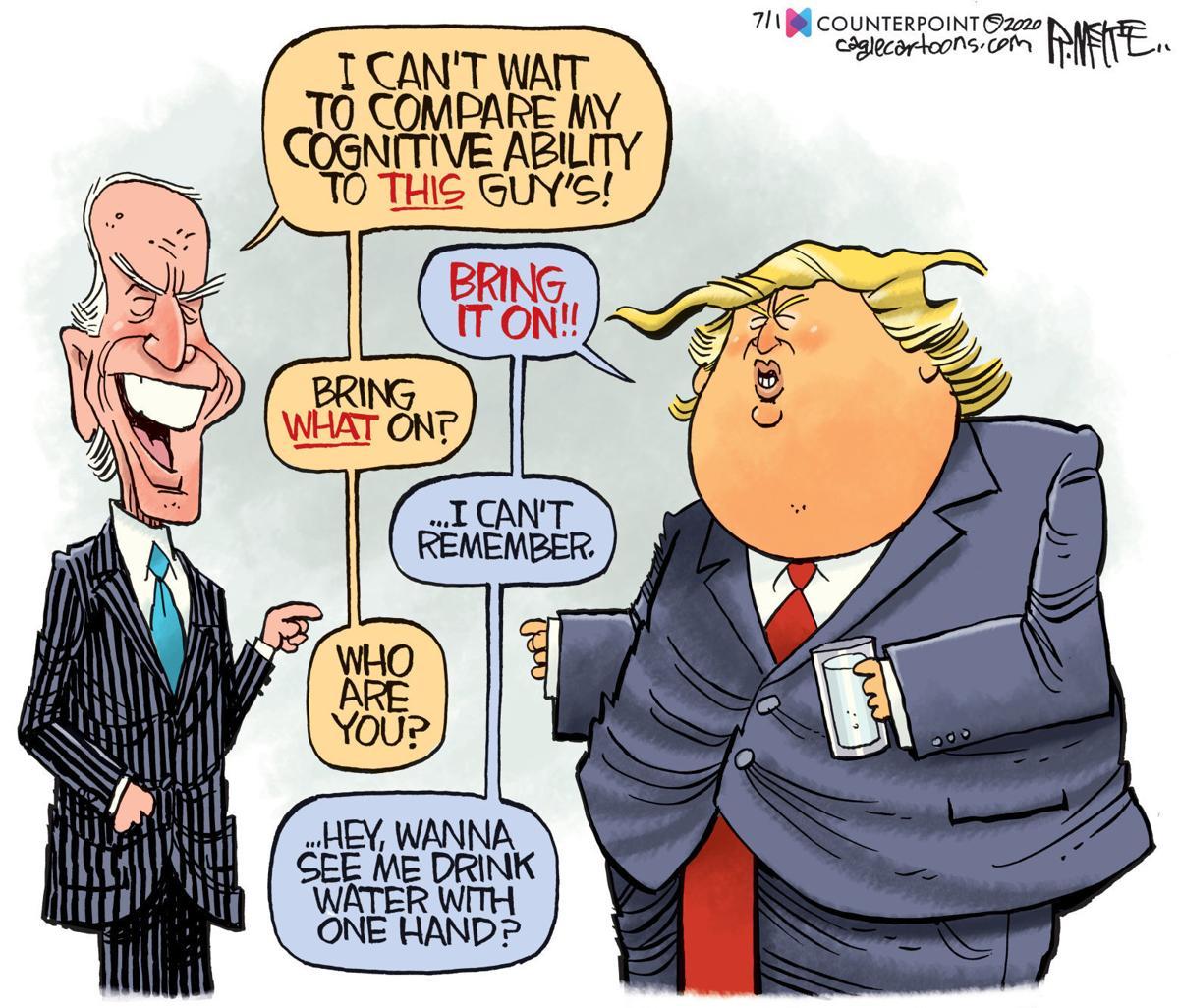 Trump and Biden - Clash of the Titans. Cartoon credit: Rick McKee (Washington State Journal)