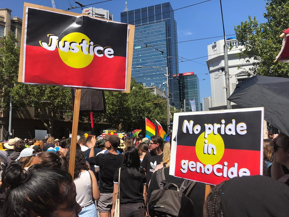 Invasion Day rally 2020. Call for Justice, No Pride in Genocide.