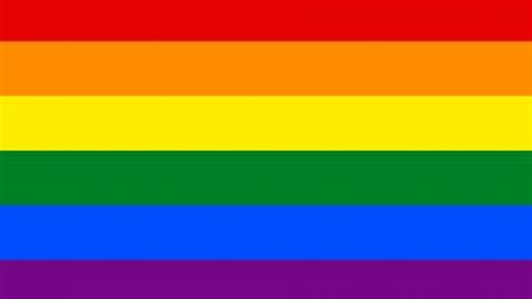rainbow flag 6 horizantal colours red orange yellow green blue purple