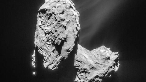 Comet 67P/Churyumov-Gerasimenko from a distance of 82.6 km, as seen by the Rosetta navigation camera on 21 March 2015—the image has been cropped and processed to bring out the details of the comet's activity (ESA/Rosetta/NAVCAM, CC BY-SA IGO 3.0, via Wikimedia Commons)