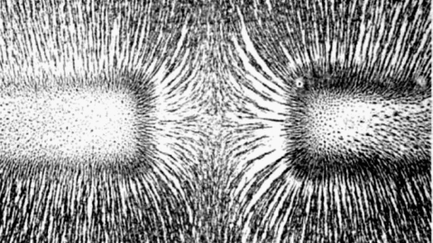Magnetic field of bar magnets repelling