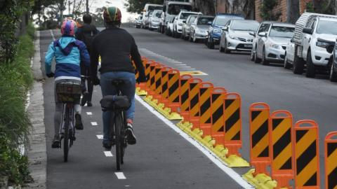 """""""Separated bike lanes on major arterial roads have proved a hit with cyclists. Credit: Nick Moir"""""""