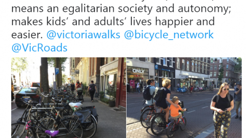 """'As @fietsprofessor told visiting Aus group, it's important to fight for the human side of our cities. If children can cycle (and walk) it means an egalitarian society and autonomy; makes kids' and adults' lives happier and easier."""""""