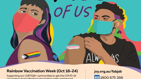 A poster advertising Rainbow Vaccination Week 18-22 October featuring two people with brown skin wearing face masks and with sleeves rolled up to reveal trans and pride flag bandaids showing they have gotten vaccinated. Above their heads are the words 'It's going to take all of us', and details about participating organsations is below.