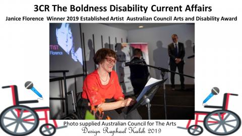 3CR The Boldness Disability Current Affairs           Janice Florence Winner 2019 Australian Council for The Arts Established Artist Award           Janice Florence ( a lady wearing a red top looking very radiant and excited giving a thank you speech            at the  2019 Australian Council for Arts Awards night.  Picture supplied by Australian Council for The Arts.
