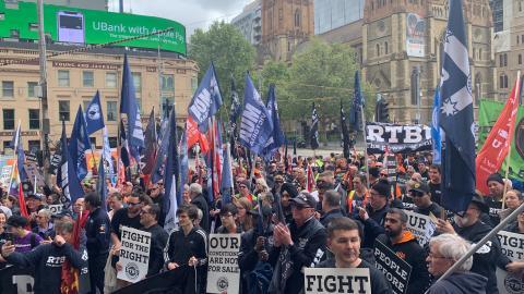 RTBU rally at Flinders Street Station