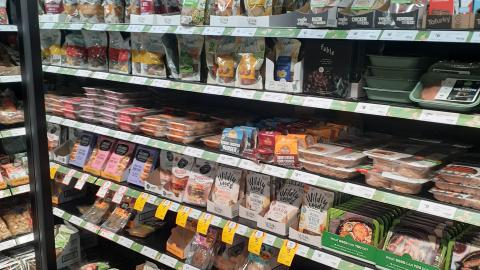 Our photo of the plant-based meat section at Coles Fitzroy.