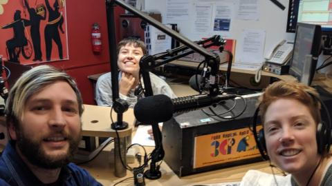 Megan, Pat and Em from Friends of the Earth in the 3cr studio