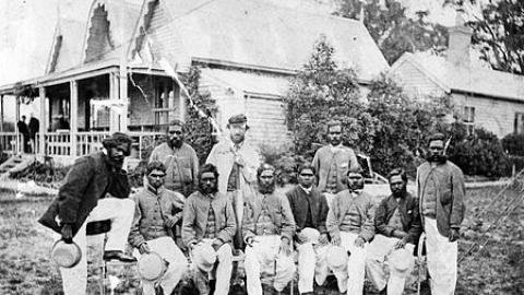 The Aboriginal cricket team pictured with their captain and coach Tom Wills at the Melbourne Cricket Ground, December 1866