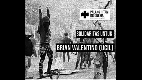 Poster calling for solidarity with arrestee Brian Valentino.