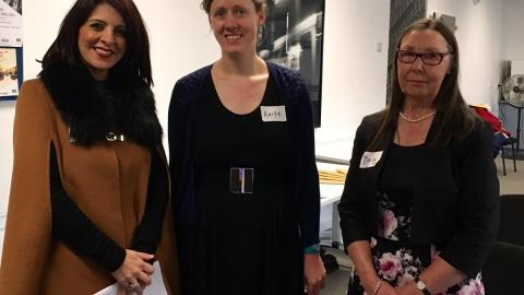 Left to right: Victorian Consumer Affairs Minister Marlene Kairouz, Researcher Aoife Cooke, and HAAG chair Daisy Ellery at the launch of the Independent Voices report