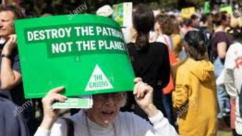 "An elderly white woman at a protest holds a sign reading ""Destroy the patriarchy, not the planet"""