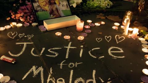 Justice for Mhelody candles and altar