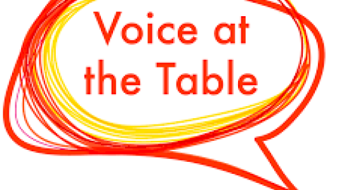 Voice at The Table written in a red speech bubble