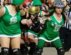 Roller Derby Chicks on speed skates