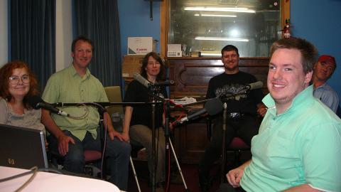 Heather, Jon, Helen, Kane, Luke and David at a VALID recording in Studio 3