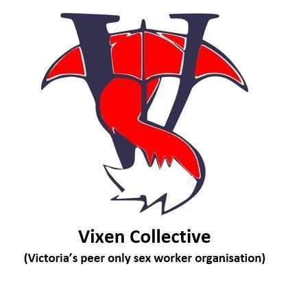 Vixen Collective Image of black V with Red umbrella
