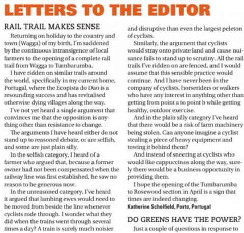 #BuildItForBatlow - Letters to the Editor. Wagga Daily Advertiser, 21st January 2020