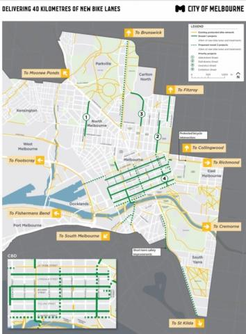 City of Melbourne to construct 40km of new bicycle lanes
