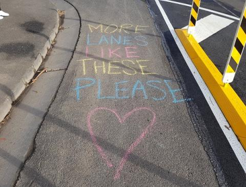 """Image: Luke Poland via twitter """"Spotted some love for new lanes in Richmond! Nice work @YarraCouncil!!"""""""