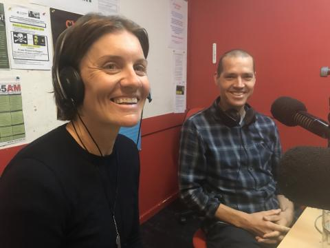 Sarah Hammond and Jesse Carlsson in the studio for the Yarra BUG Radio Show