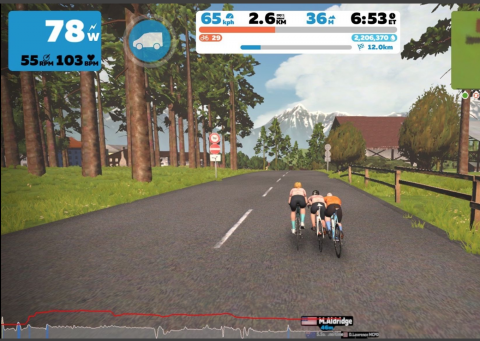A screenshot of a rider on the Zwift indoor cycling app
