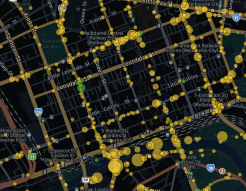 Detail of interactive map from the BikeSpot 2020 project