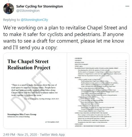 """We're working on a plan to revitalise Chapel Street and to make it safer for cyclists and pedestrians. If anyone wants to see a draft for comment, please let me know and I'll send you a copy"""