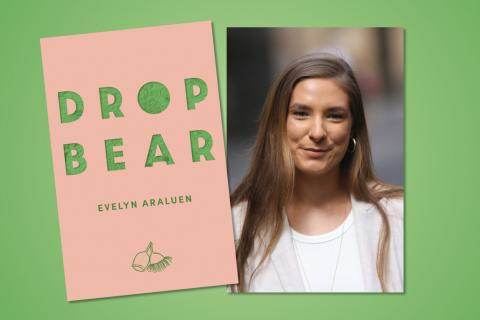 Cover art for Evelyn Araluen's book Dropbear next to a portrait of Evelyn Araluen over a green background.