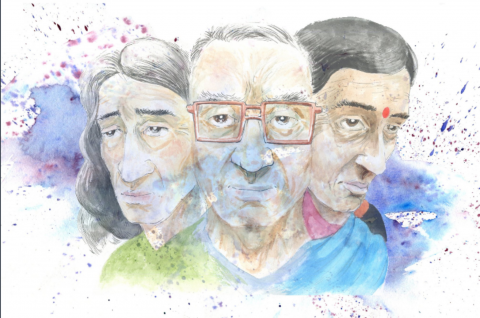 A painting of three older racially diverse people's faces side by side. There are watercolour splatters across the painting.