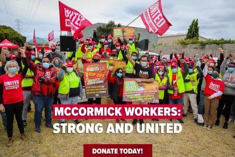 A photograph of United Workers Union members participating in the McCormick workers industrial action.