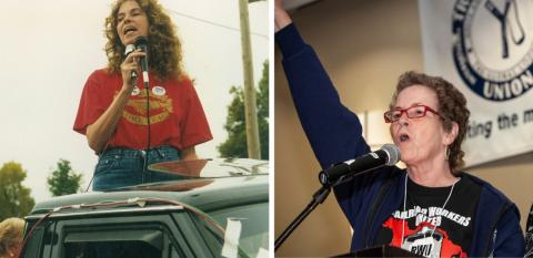 Left, on the Staley strike line in Decatur, Illinois, in 1995. Right, at the Labor Notes Conference in 2012. Photos: Dexter Arnold, Jim West (jimwestphoto.com)