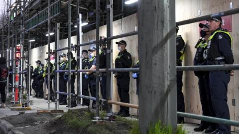 Police protect site where CFMEU officials bashed - allegedly 1-7-2020