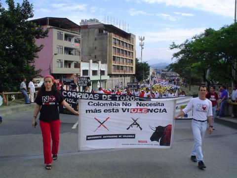 Bullfighting protest in Colombia