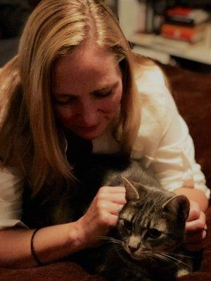 Kate with Tippy the cat