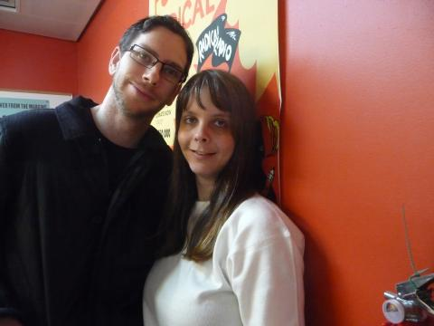 Photo of Nick and Katie – the hosts of this episode, at 3CR.