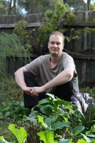 Mark Allen in the garden