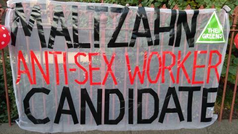 Banner reading Maltzahn 'Anti Sex Worker Candidate'