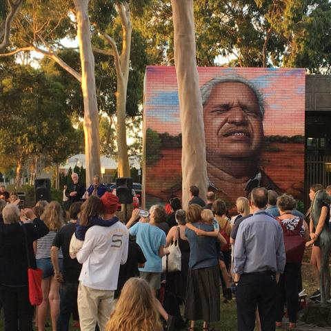 Crowd gathered for the ICAN mural launch at the Preston library in Darebin, featuring a portrait of Yami Lester.