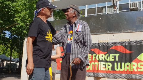 Kevin Buzzacott and Robbie Thorpe at Invasion Day Rally Canberra in 2019.