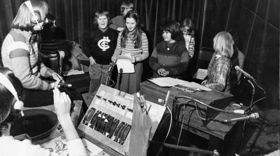 3CR outside broadcast with Education Inside Out c1980