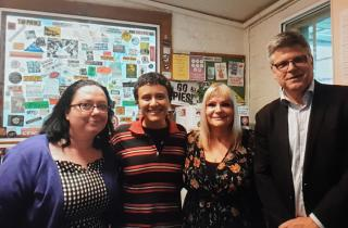 Brainwaves hosts Cailin and Suzie with guests in the 3CR kitchen