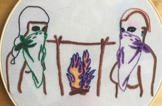 Roasting the Patriarchy: Recipes for Dismantling the System. Embroidery by Gabriela Gonzalez.