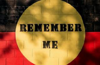 Remember Me artwork by Reko Rennie in North Fitzroy.