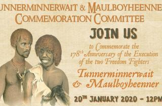 Tunnerminnerwait Maulboyheenner event poster 2020. January 20, midday, corner Victoria and Franklin streets, city.