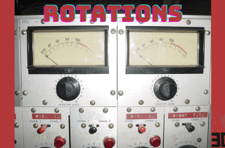 Image of VU meters with the words ROTATIONS written in red above them. There is a 3cr logo in the bottom right hand corender in black.