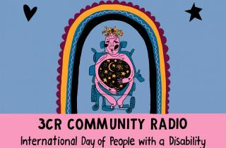 image is a poster with a light blue and pink background. It features a digital continuous line drawing of a disabled person in a blue wheelchair. The person is holding a large black sphere, filled with moon and stars. It looks as though they are literally holding space. There is a burgundy, mustard, blue and black rainbow above the person's head, with a black heart and star on either side.